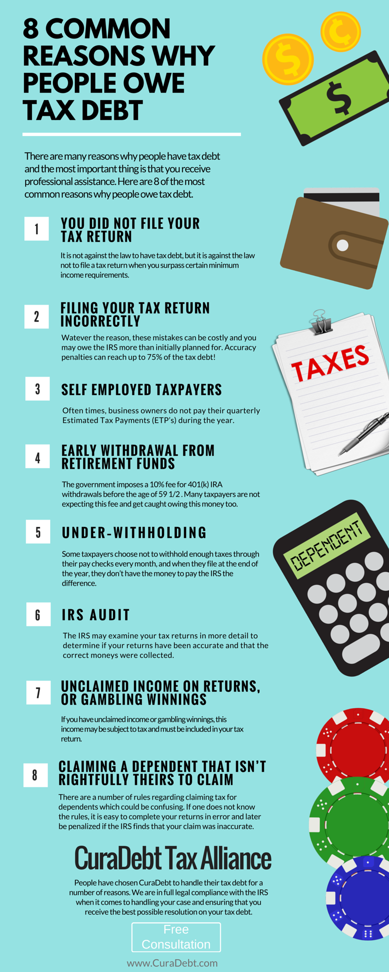Tax Debt Inforgraphic - 8 reasons why people owe tax debt