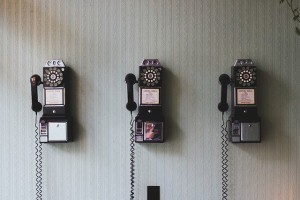 rotary telephones used to reach credit card companies
