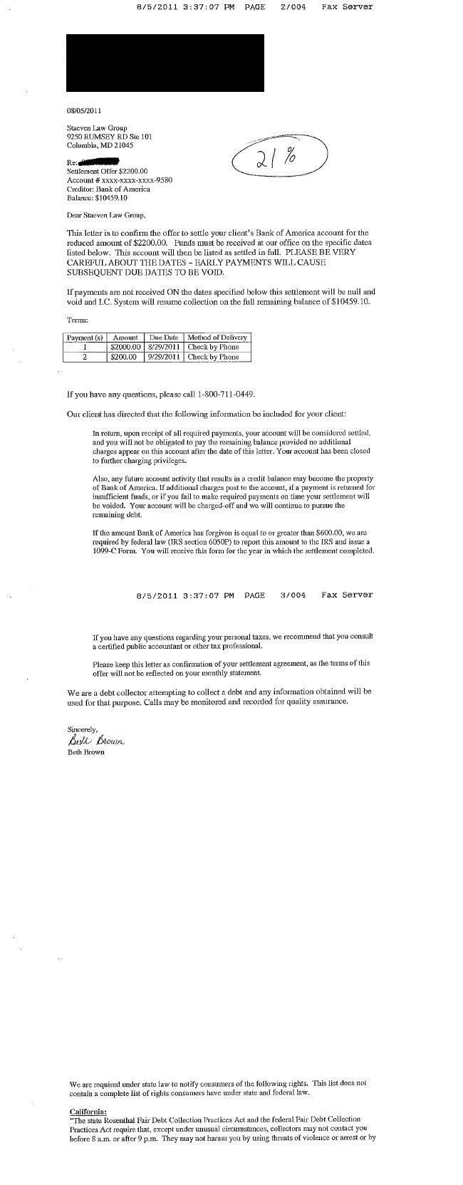Bank of America Debt Settlement Letter Saved $8259