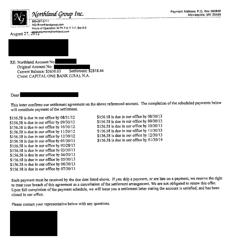 Capital One Bank Debt Settlement Letter Saved $2818