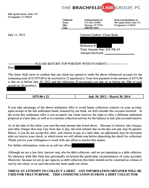 Chase Bank Debt Settlement Letter Saved $11831