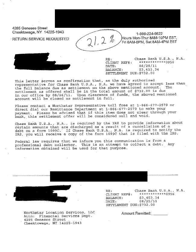 Chase Bank Debt Settlement Letter Saved $2721