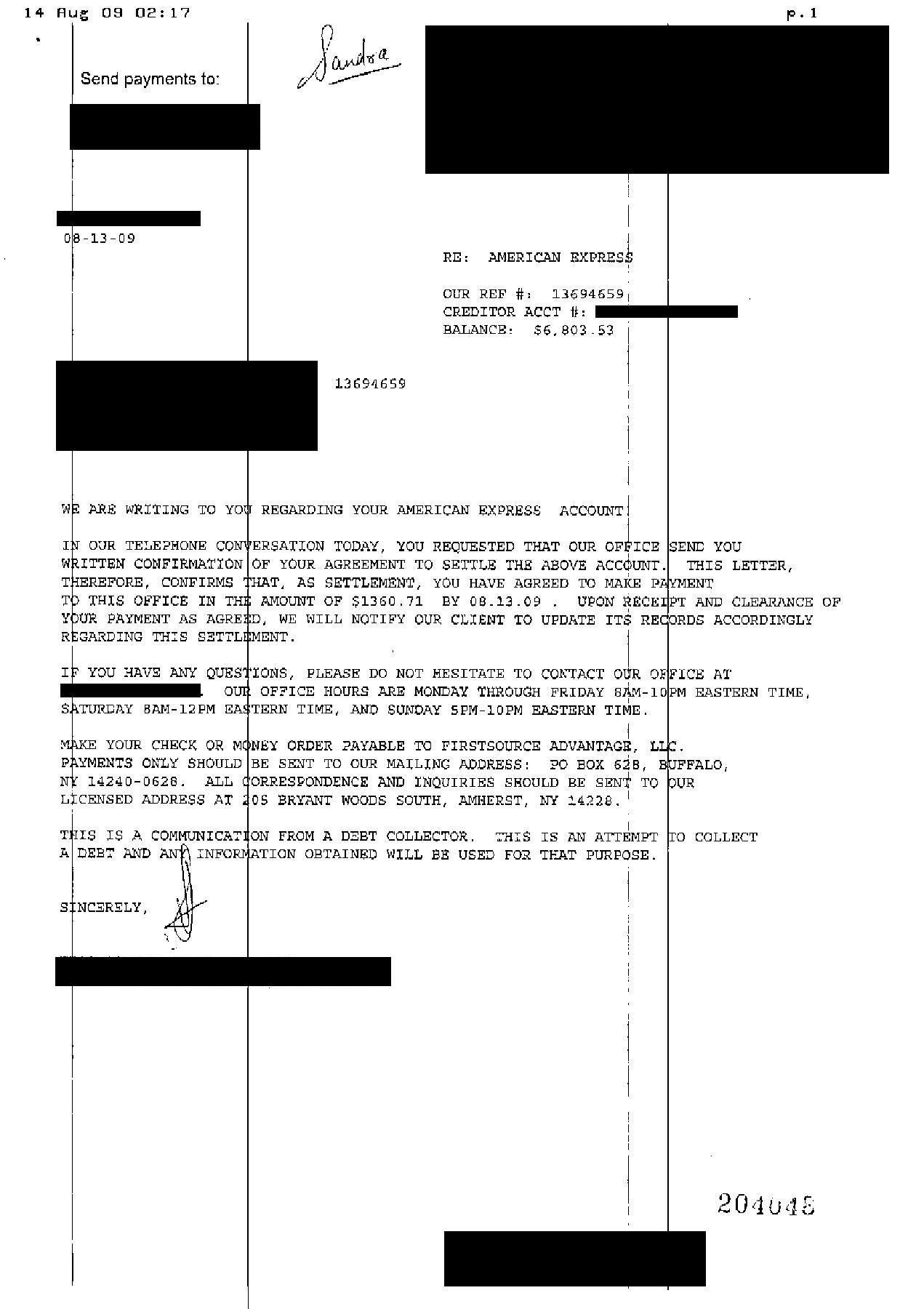 Chase Bank Debt Settlement Letter Saved $9268