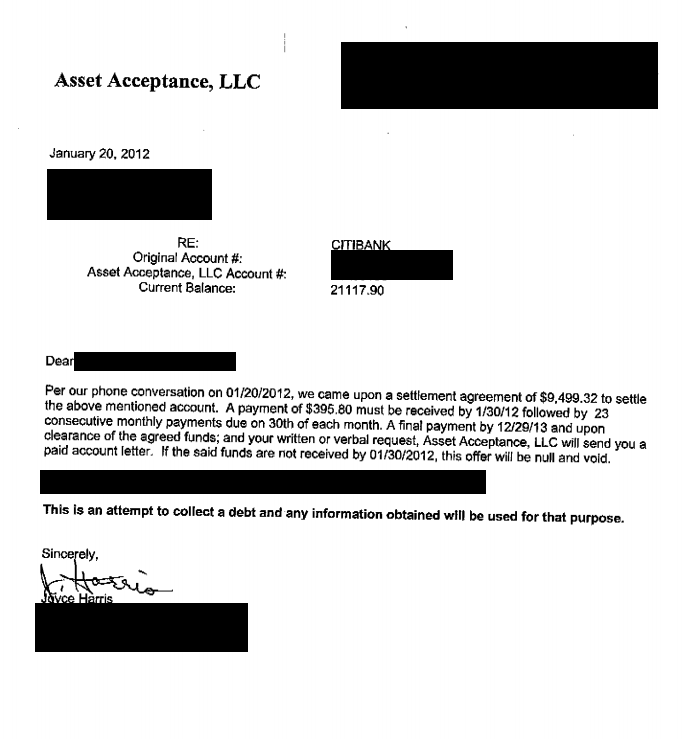 Citi Bank Debt Settlement Letter Saved $11618