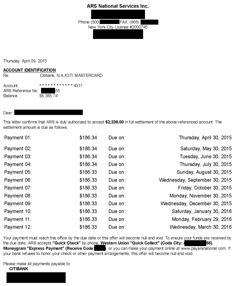 Image of a settlement letter with Citibank USA America with savings of 4,149 dollars