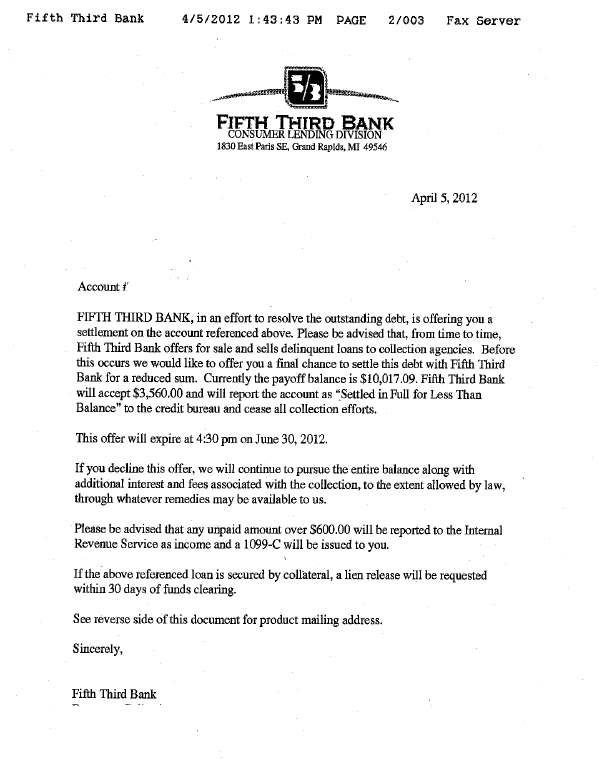 Fifth Third Bank Debt Settlement Letter Saved $6457
