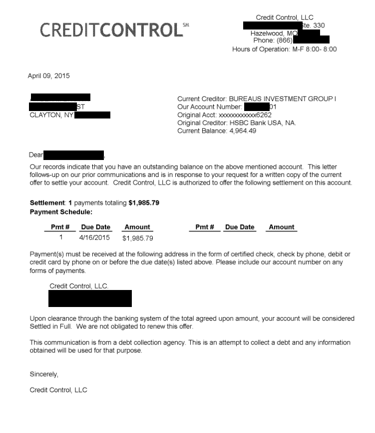 Image of a settlement letter with HSBC Bank USA America with savings of 2,979 dollars