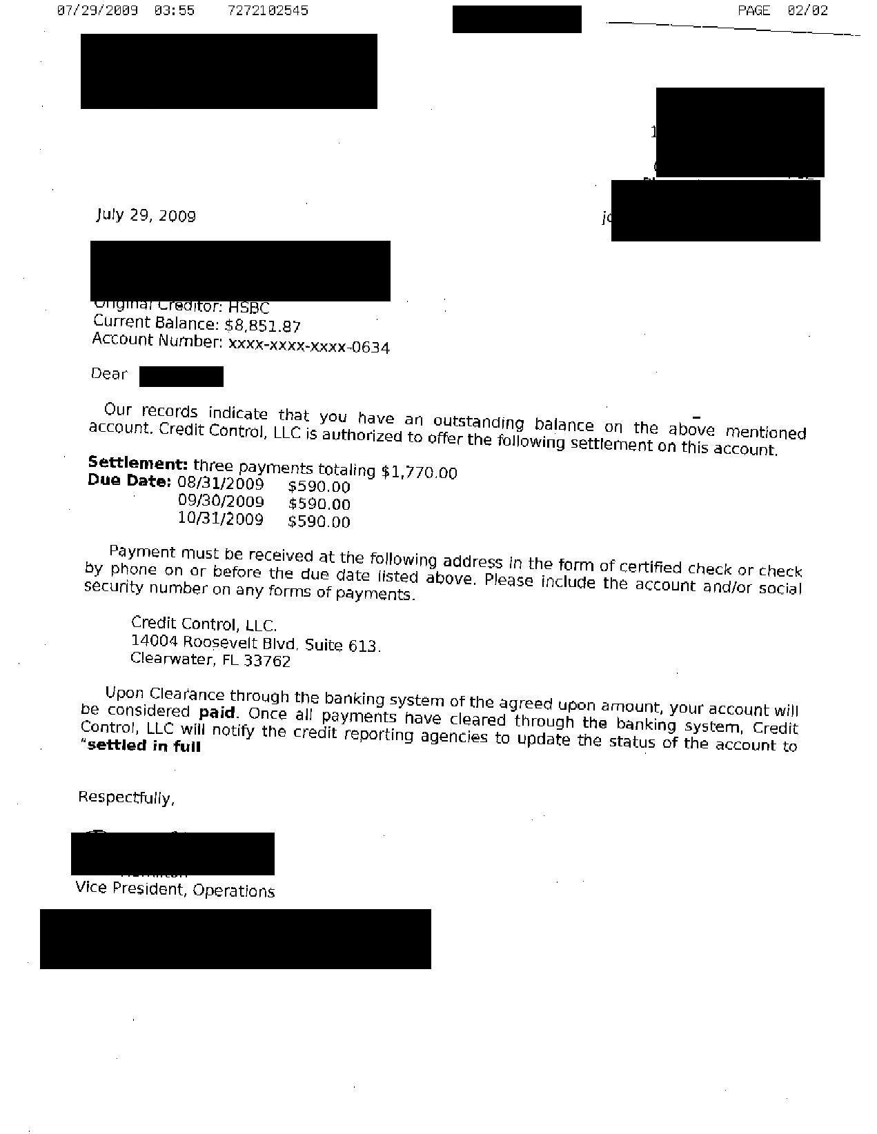 HSBC Debt Settlement Letter Saved $7081