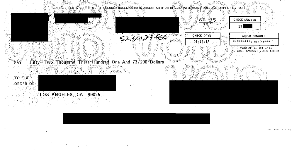 Image of a 52,301 dollar check for win against creditor/collector for FDCPA Violation