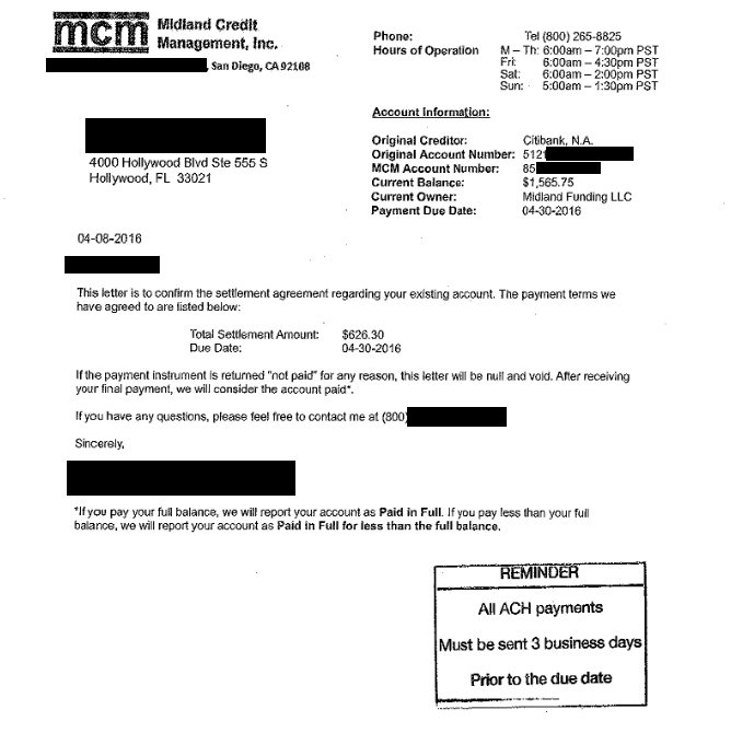 Image of a settlement letter with Citibank USA America with savings of 939 dollars