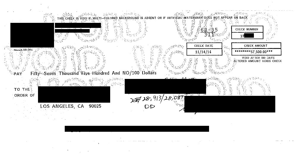 Image of check for FDCPA Violation $57,500 win against creditor/collector