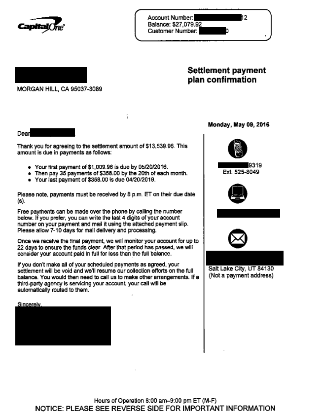 Capital One Bank Debt Settlement Letter From May 2016