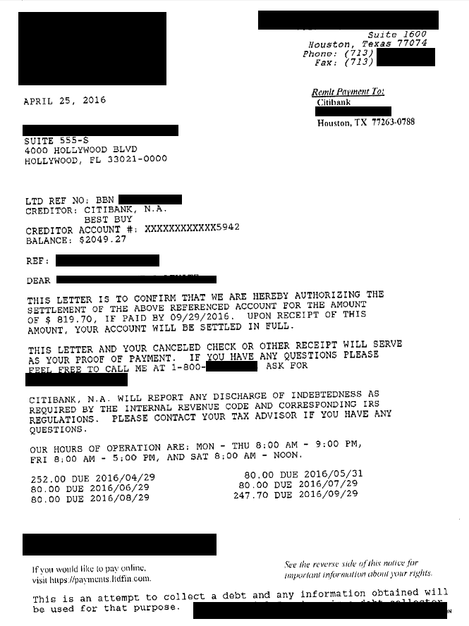 Image of Citibank USA America Debt Settlement Letter with savings of 60%