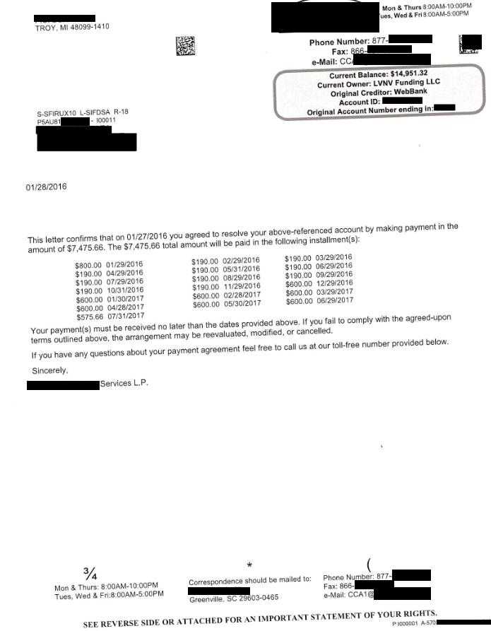 Lending Club / WebBank Debt Settlement Letter From January 2016