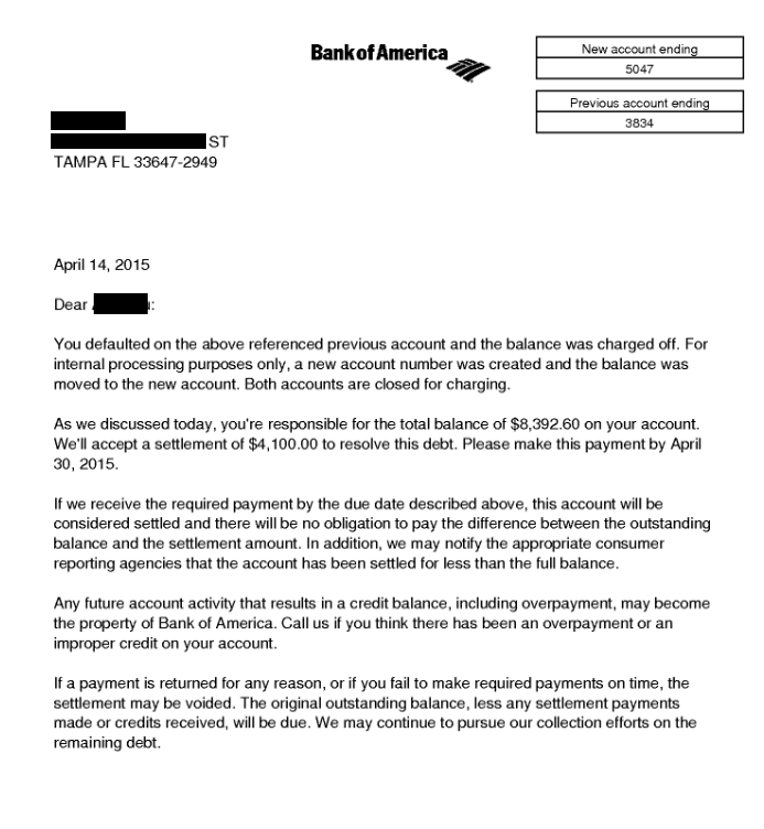 Image of a settlement letter with Bank of America with savings of 4,292 dollars