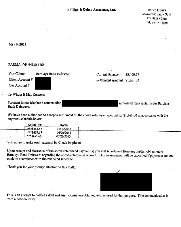 Barclays Bank Debt Settlement Letter Saved $2039