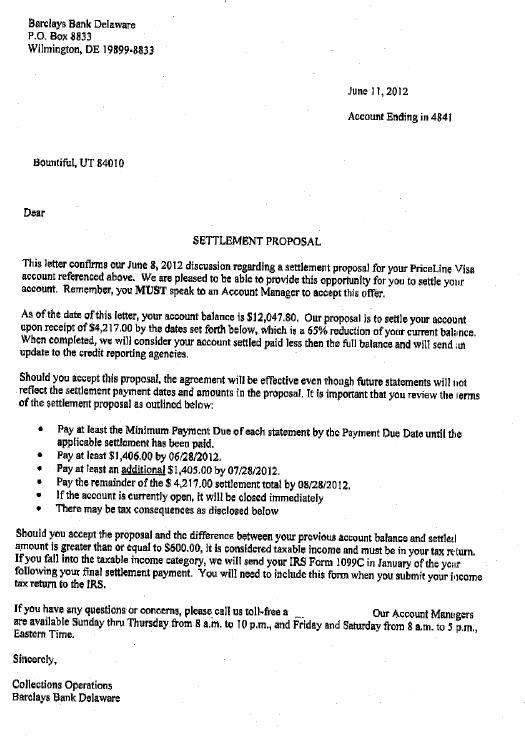 Barclays Bank Debt Settlement Letter Saved $7830