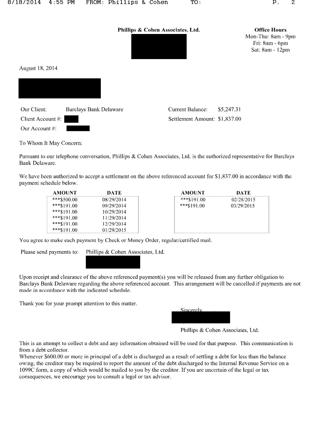 Image of a settlement letter with Barclays Bank Delaware with savings of 3,410 dollars