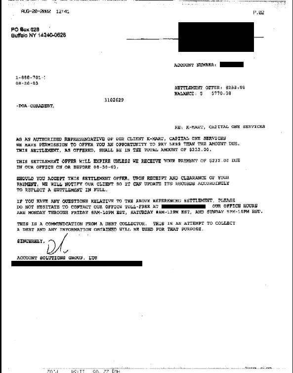 Capital One Letter of Debt Settlement Saved $538