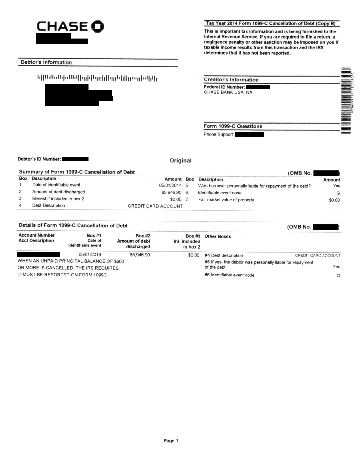 Image of a settlement letter with Chase Bank USA America with a savings of 5,946 dollars