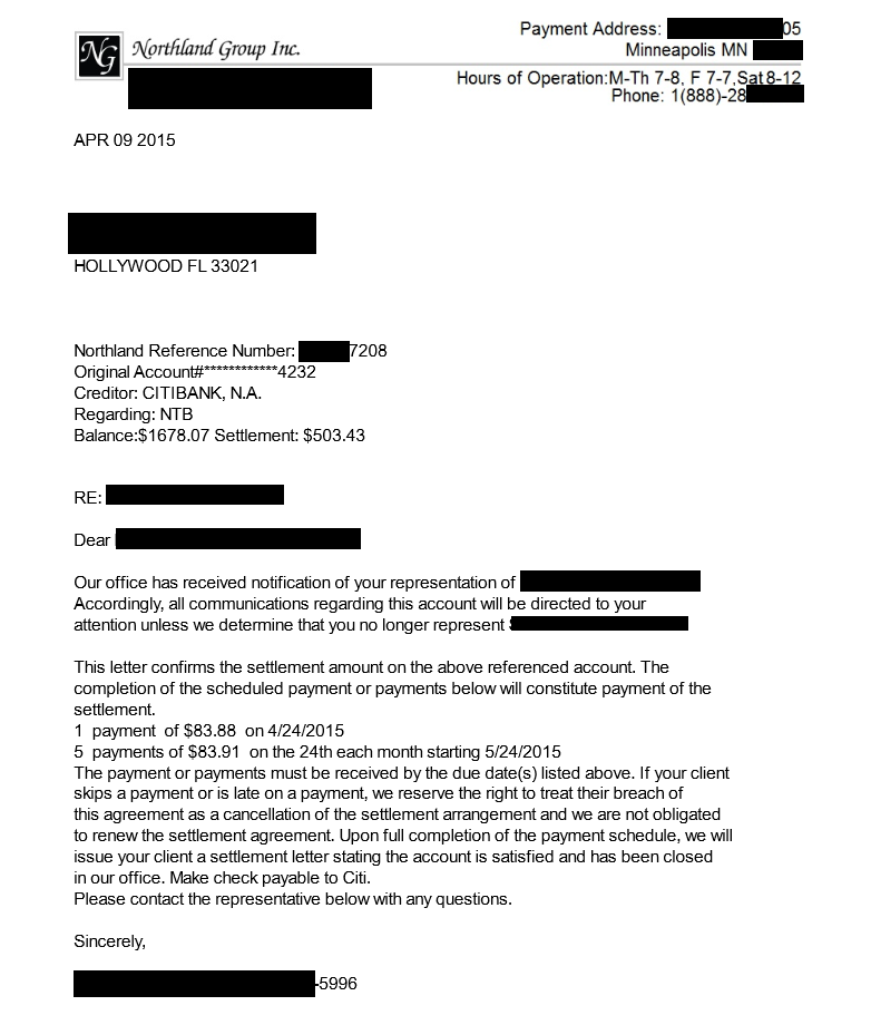 Image of a settlement letter with Citibank with savings of 1,175 dollars