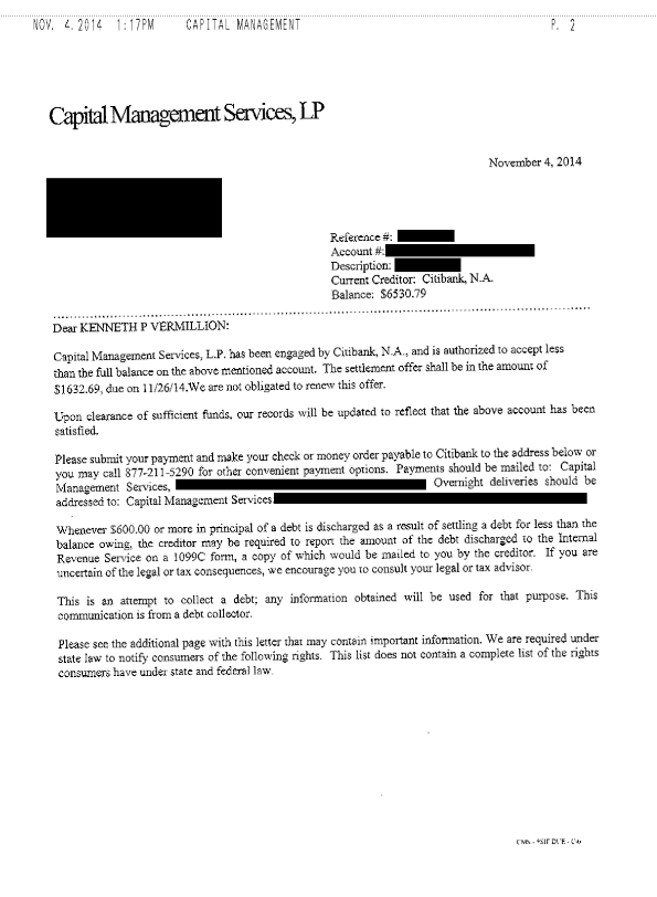 Citibank Debt Settlement Letter Saved $4898