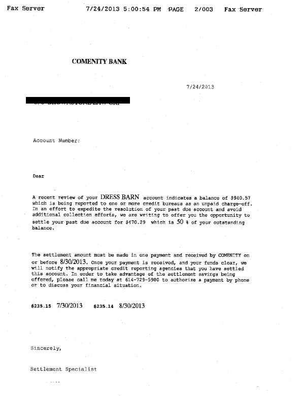 Comenity Bank Debt Settlement Letter Saved $470
