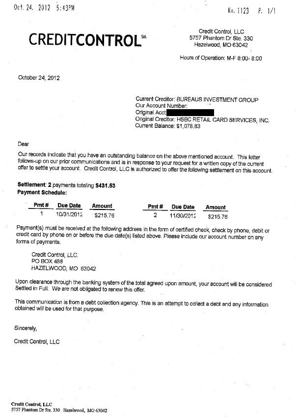 HSBC Bank Debt Settlement Letter Saved $647