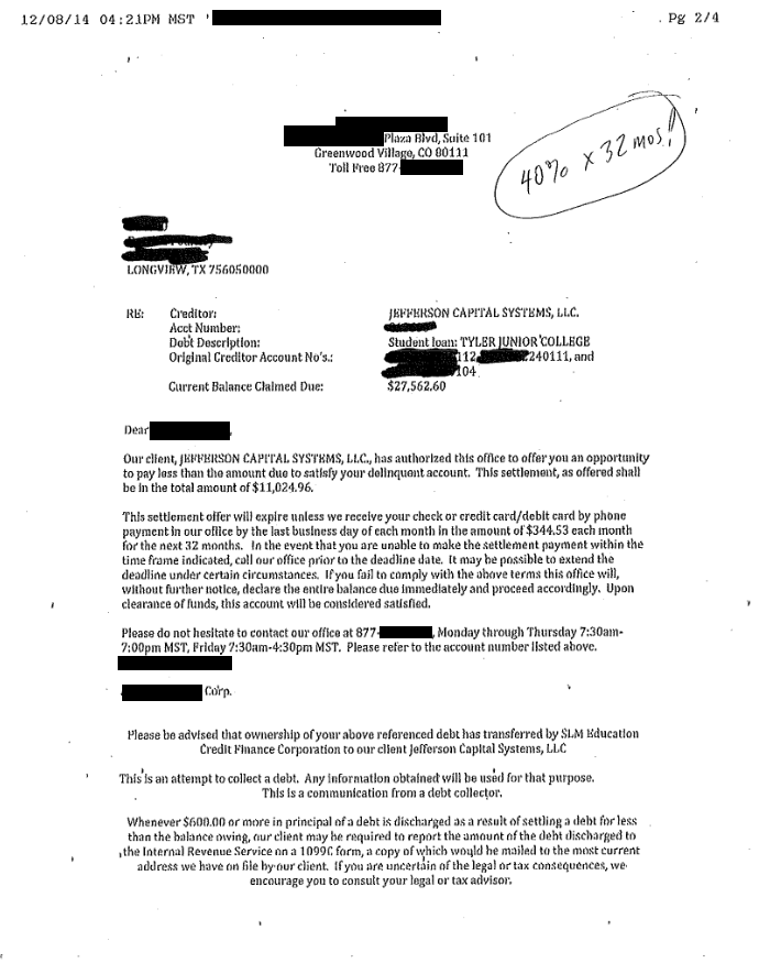 Image of a settlement letter with Jefferson Capital Student Loan with savings of 16,538 dollars