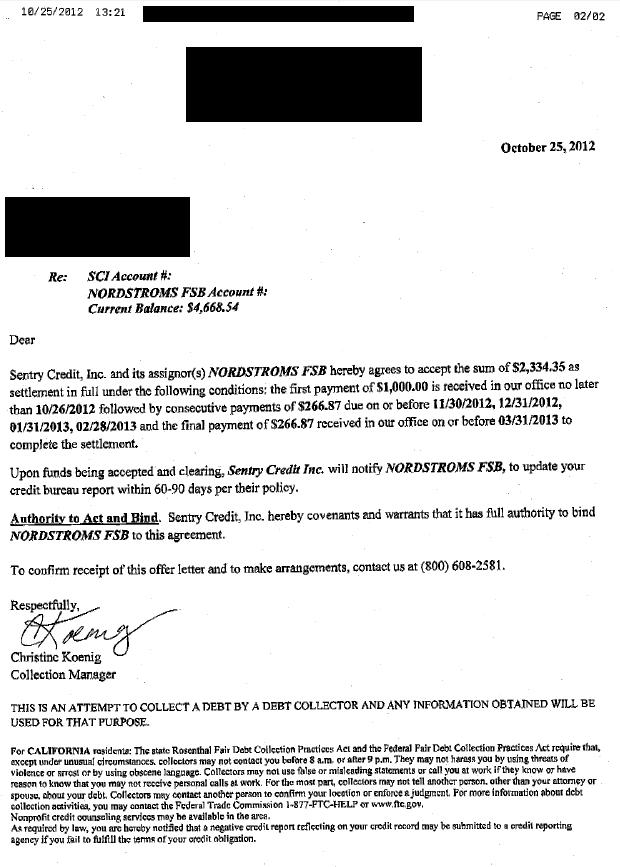 Nordstrom Bank Debt Settlement Letter Saved $2334
