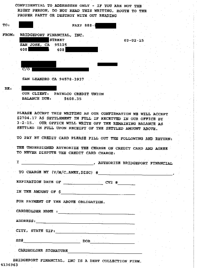 Image of a settlement letter with Patelco Credit Union with savings of 2,704 dollars