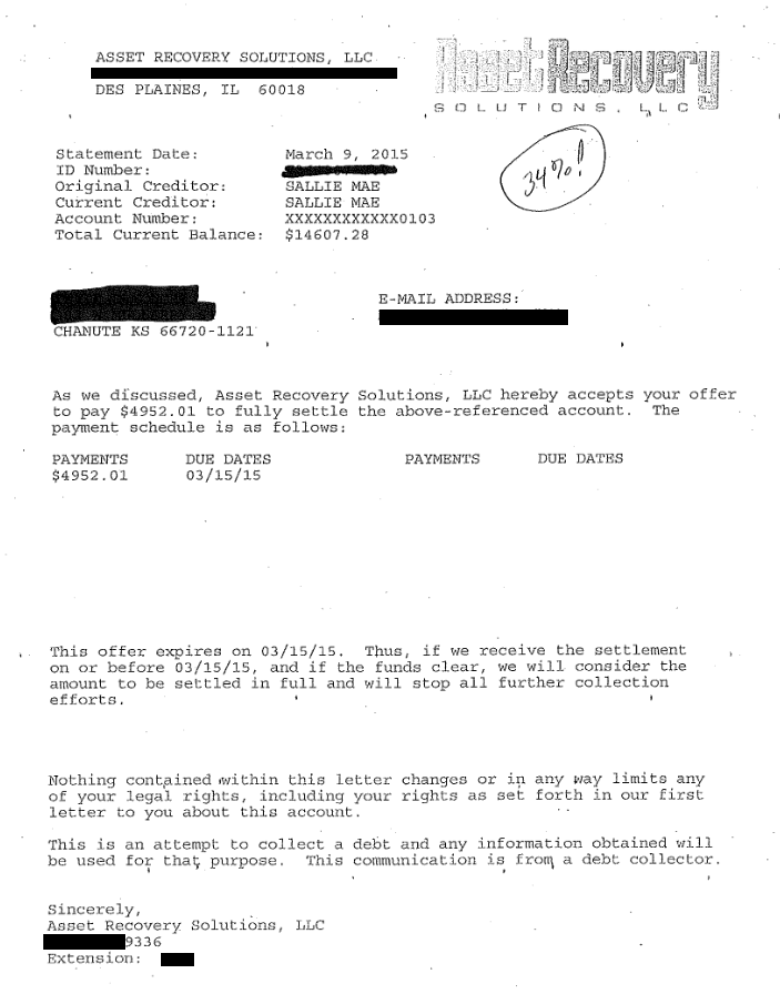 Image of Sallie Mae Student Loan settlement letter with savings of 9,655 dollars