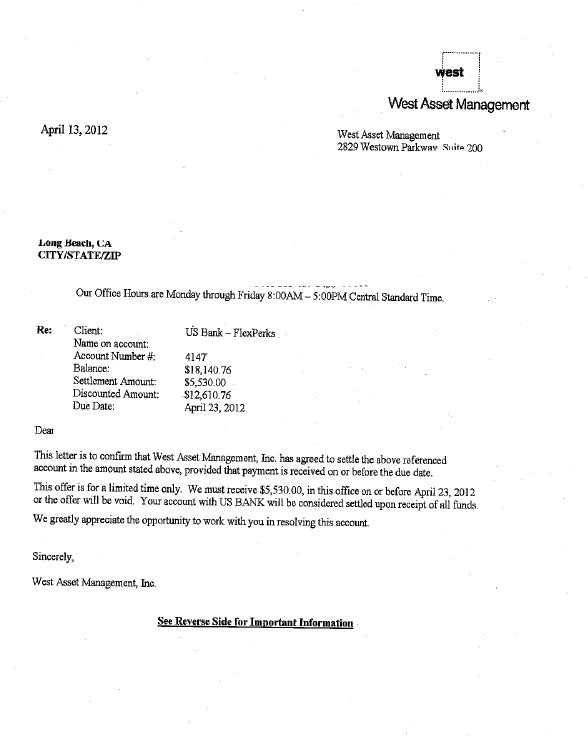 US Bank Debt Settlement Letter Saved $12610