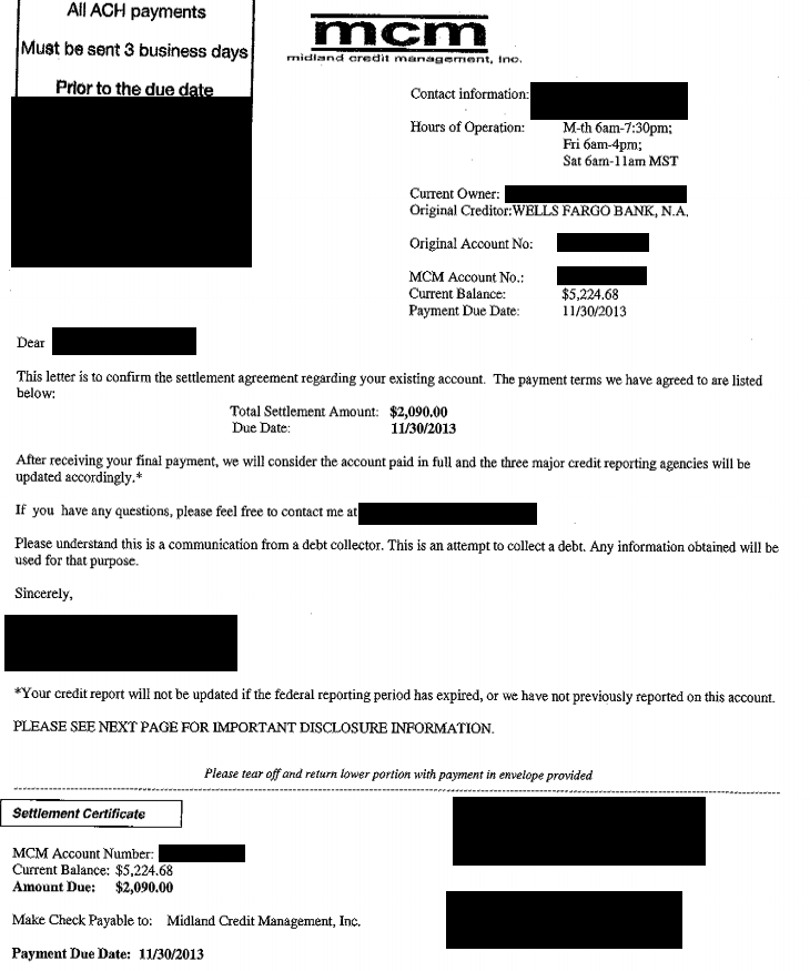 Image of settlement letter with Wells Fargo Bank with savings of 3,134 dollars
