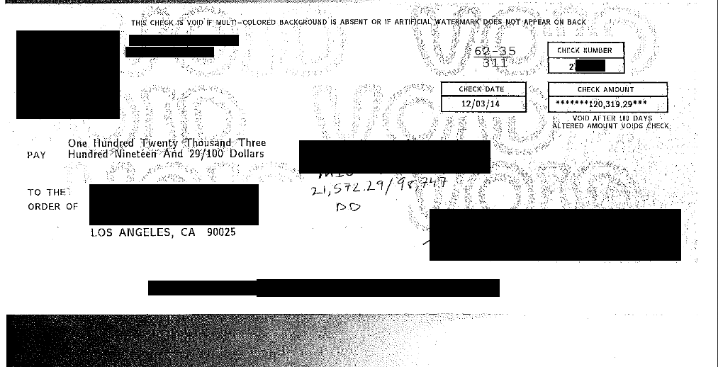 Image of check for $120,319 FDCPA Violation win against creditor/collector
