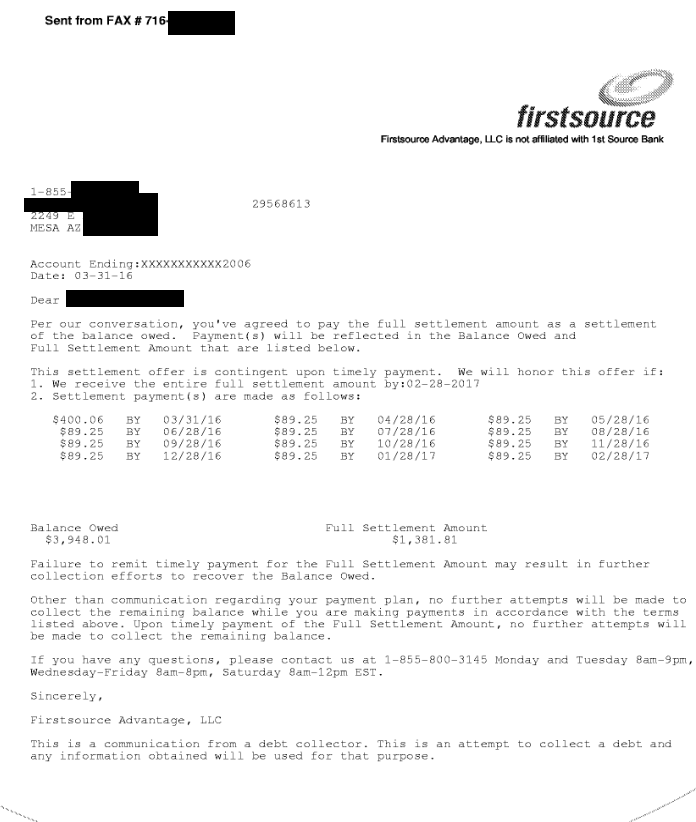 Image of a settlement letter with American Express with savings of 2,566 dollars