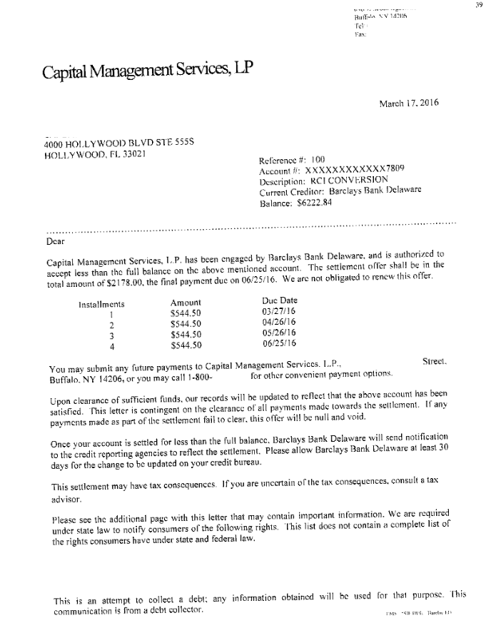 Image of a settlement letter with Barclays Bank with savings of 4,044 dollars