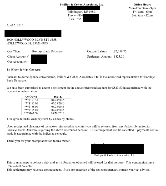 Image of a settlement letter with Barclays Bank with savings of 60%