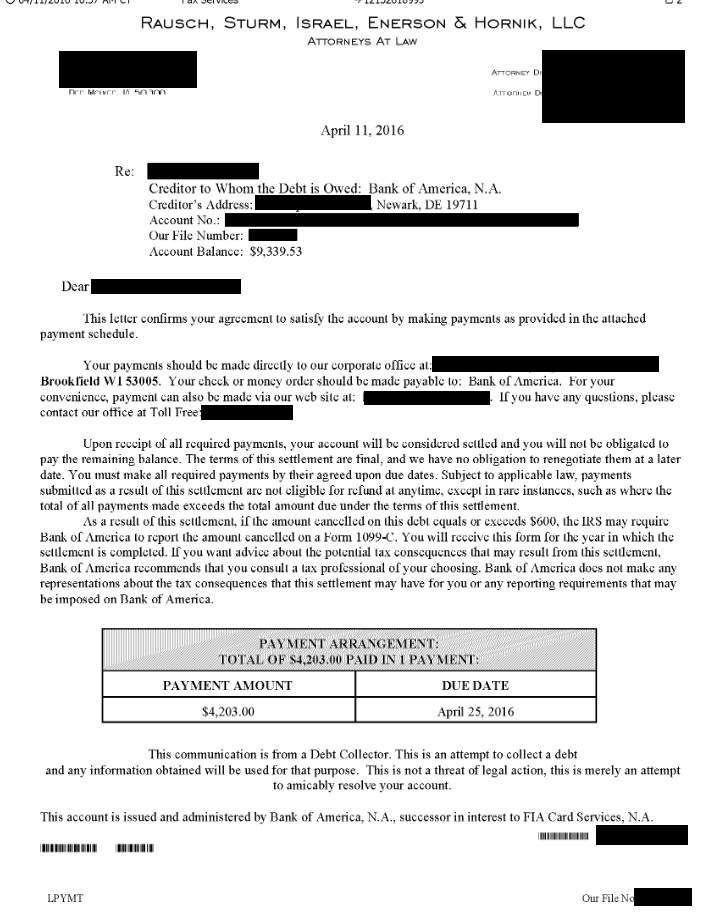 Image of a settlement letter with Bank of America with savings of 5,136 dollars