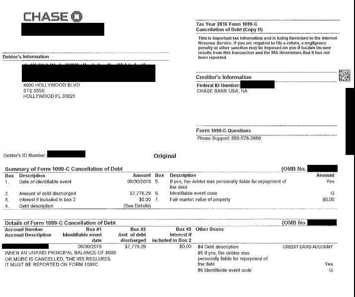 Image of a settlement letter with Chase Bank USA America with savings of 7,776 dollars