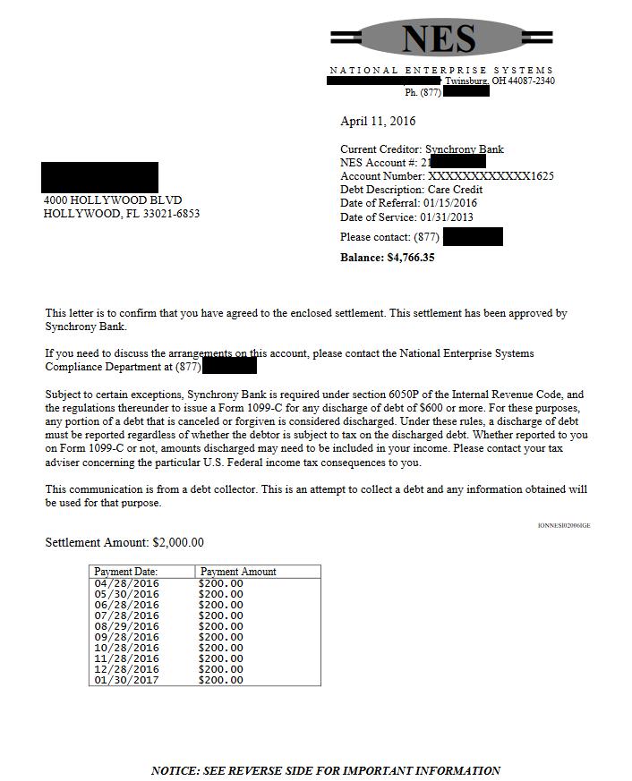 Synchrony Bank Debt Settlement Letter From April 2016