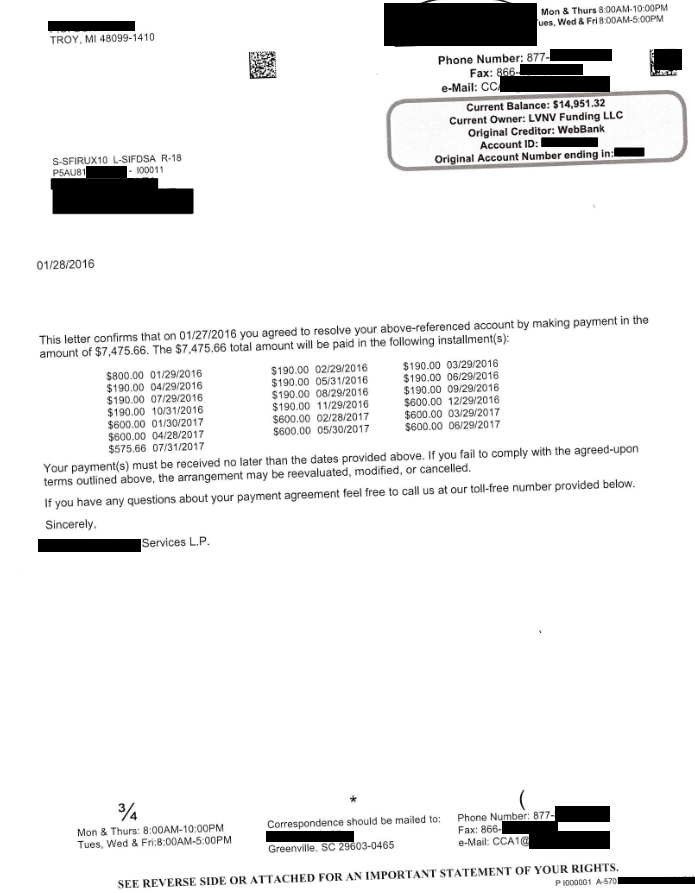 Lending Club / WebBank Debt Settlement Letter From January 2016