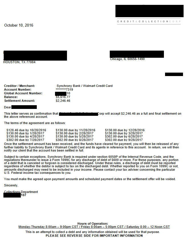 Image of a settlement letter with Synchrony Bank with savings of 3,370 dollars