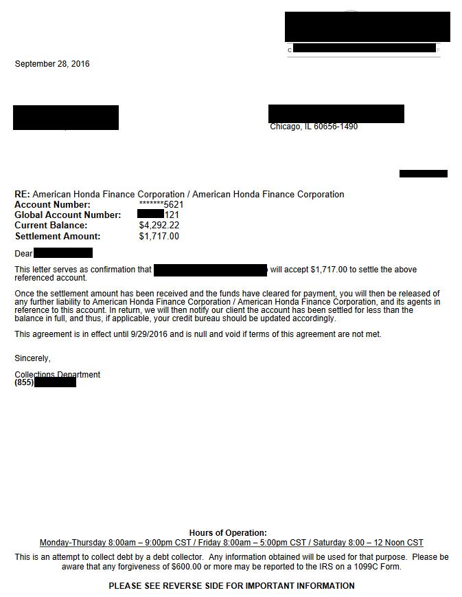 American Honda Finance Debt Settlement Letter From September 2016