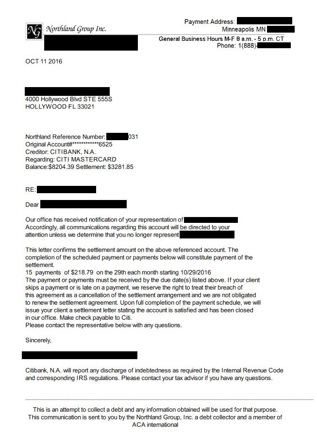 Citibank USA America Debt Settlement Letter From October 2016
