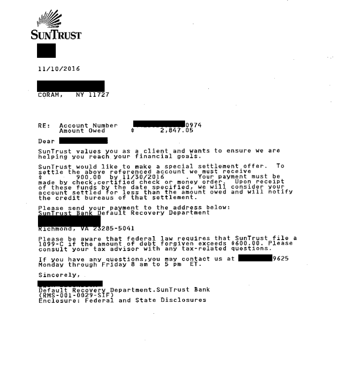 Image of a settlement letter with SunTrust Bank with savings of 1,947 dollars