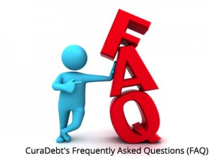 Figure of person leaning on the letters FAQ with caption CuraDebt-Frequently-Asked-Questions-(FAQ)