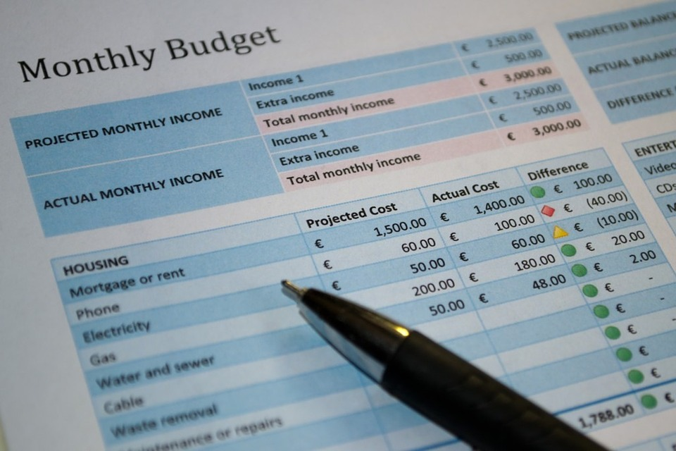 Image of monthly budget sheet