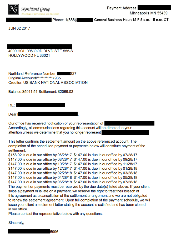 Image of a settlement letter with US Bank National with savings of 3,842 dollars