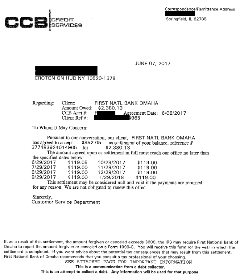 First National Bank of Omaha Debt Settlement Letter: Client Saved 60%